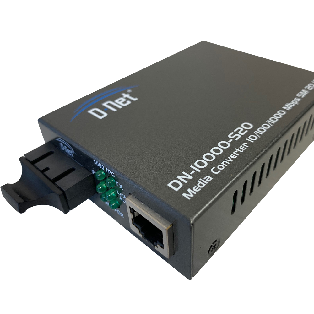D-NET Ethernet Media Converter, Single Mode LX Fiber, 10/100/1000 Base-T (20 Km), (DN-10000-S20)