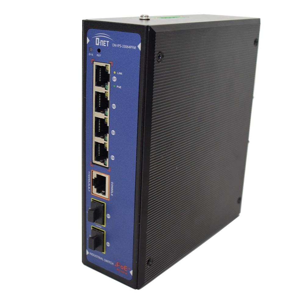 D-NET 4 Port Gigabit Ethernet Network Industrial Switch, Commutator, PoE (DN-IPS-33064PFM)