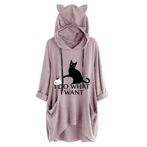 Sweat Poche Chat I do what I want rose - Felix-le-chat