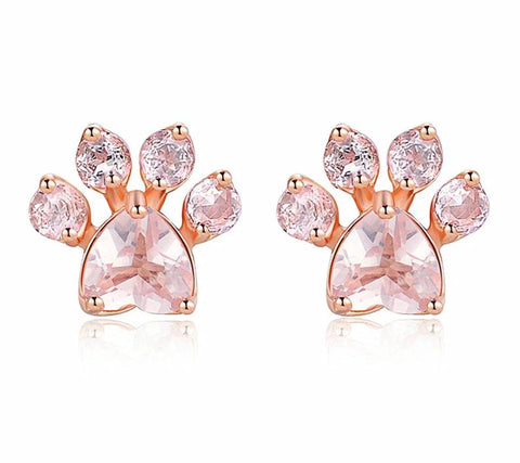Boucle d'Oreille Patte de Chat Quartz rose - Felix-le-chat