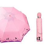 Parapluie Pliable Automatique duo de chats rose - Felix-le-chat