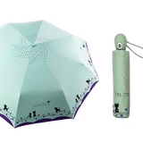 Parapluie Pliable Automatique duo de chats vert - Felix-le-chat