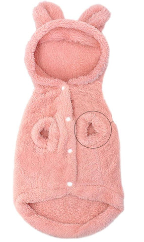 Manteau Pour Chat Ours Polaire rose ventre - Felix-le-chat