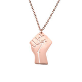 Solid Rose Gold Raised Power Fist Pendant by Jewelry Lane