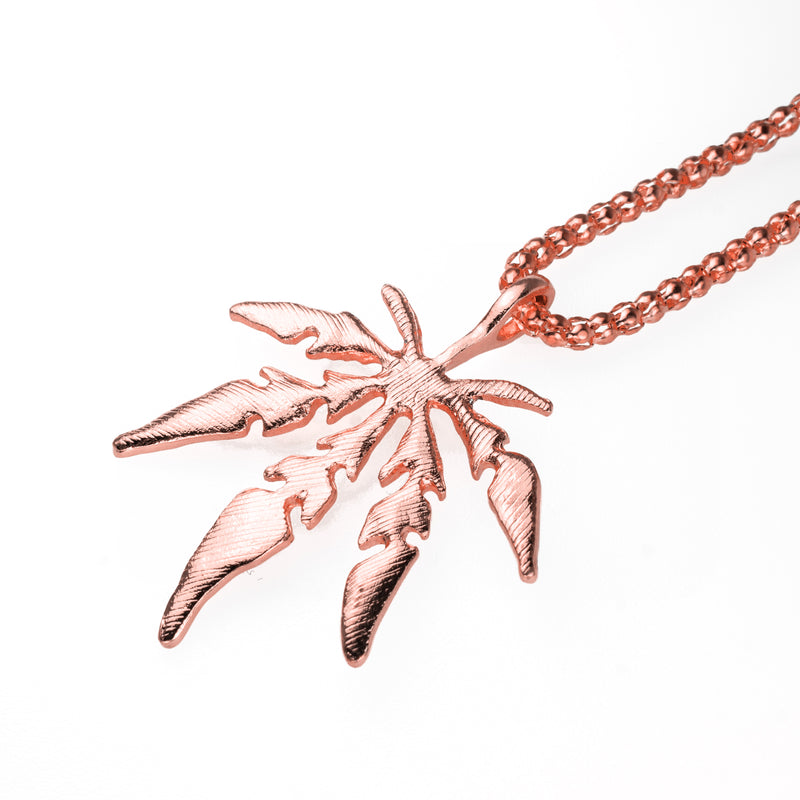 Marijuana Leaf Pendant - Rose Gold