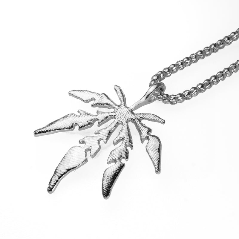 Marijuana Leaf Pendant - White Gold