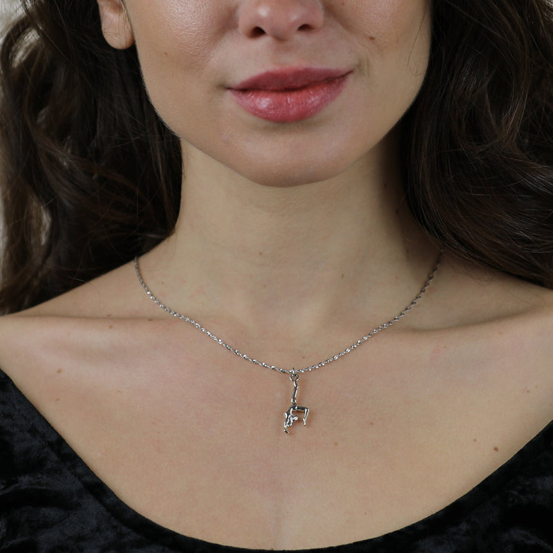 Model Wearing Beautiful Charming Champion Gymnast Solid White Gold Pendant By Jewelry Lane