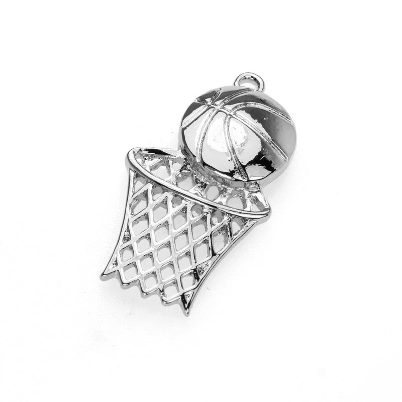 Beautiful Charming Swish Basketball Design Solid White Gold Pendant By Jewelry Lane