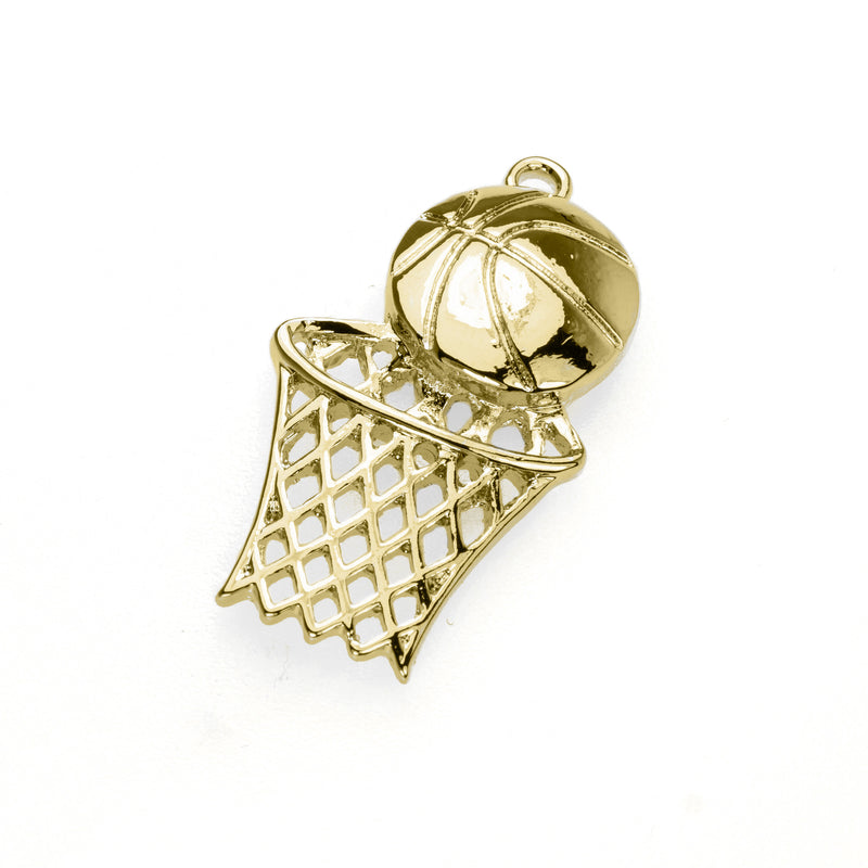 Beautiful Charming Swish Basketball Design Solid Gold Pendant By Jewelry Lane