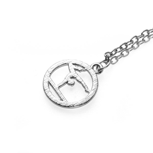 Beautiful Round Gymnast Handstand Design Solid White Gold Pendant by Jewelry Lane