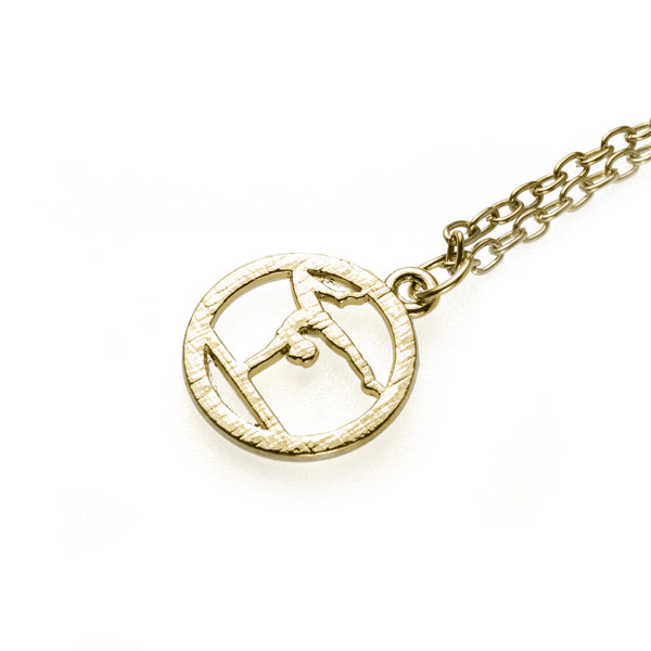 Beautiful Round Gymnast Handstand Design Solid Gold Pendant by Jewelry Lane