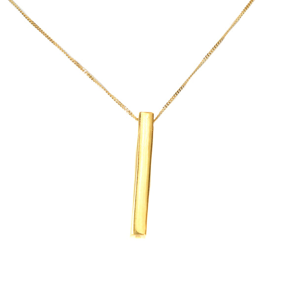 Gold Bar Pendant Necklace by Jewelry Lane