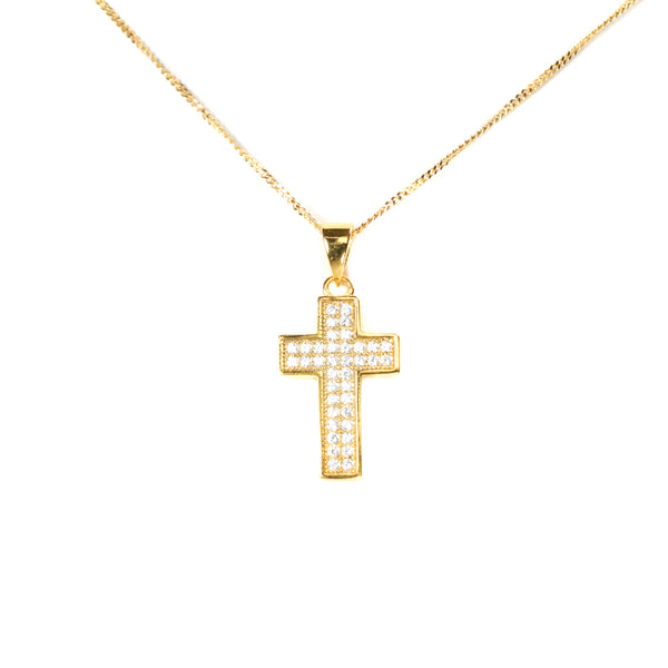 Gold Iced Cross Pendant by Jewelry Lane