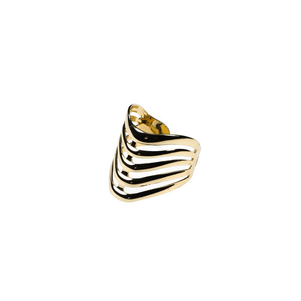 Beautiful Elegant Chevron Cuff Solid Gold Ring BY Jewelry Lane