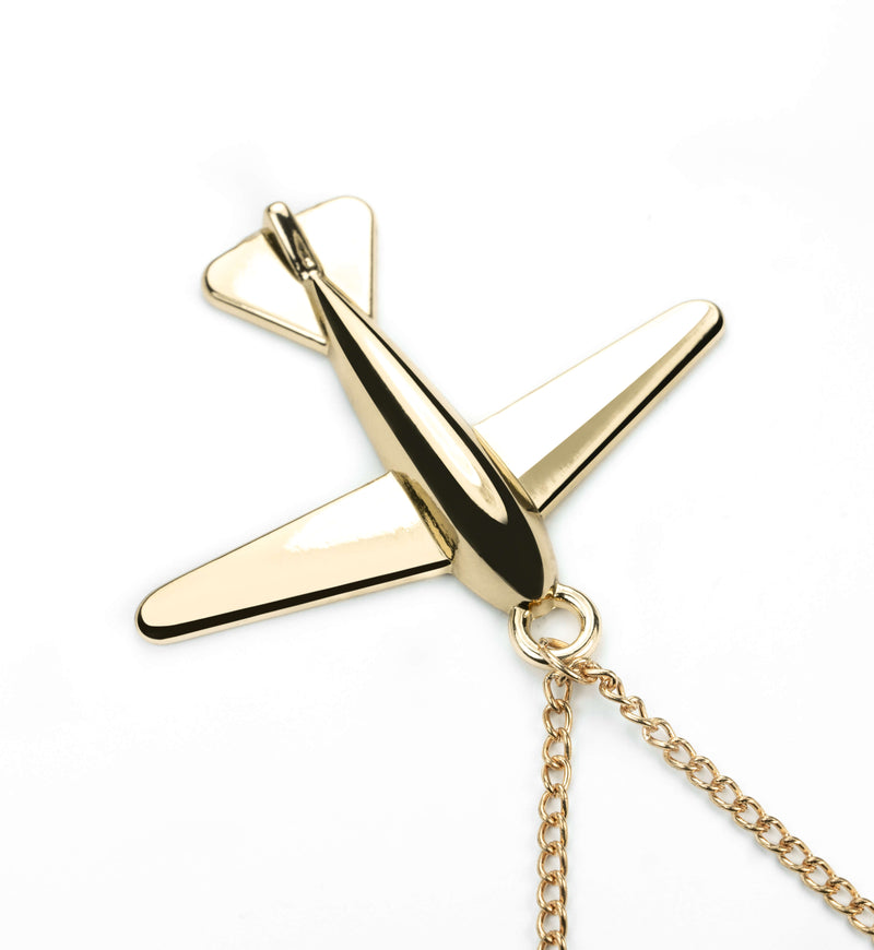 Elegant Simple Airplane Design Solid Gold Pendant By Jewelry Lane