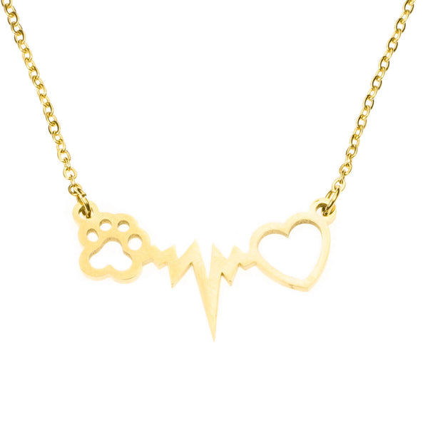 Animal Paw Heartbeat Love Solid Gold Pendant By Jewelry Lane