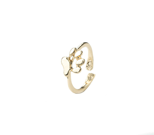 Beautiful Elegant Animal Paw Print Solid Gold Ring For Jewelry Lane