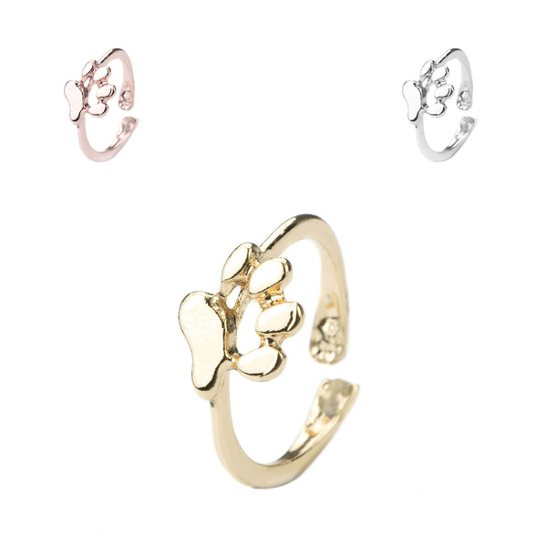 Beautiful Elegant Animal Paw Print Solid Gold Rings For Jewelry Lane