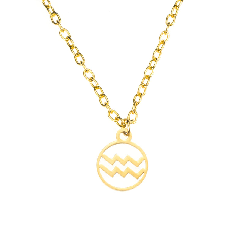 Charming Zodiac Aquarius Minimalist Solid Gold Pendant By Jewelry Lane