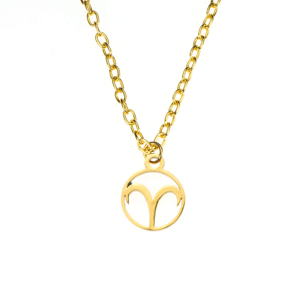 Charming Zodiac Aries Minimalist Solid Gold Pendant By Jewelry Lane