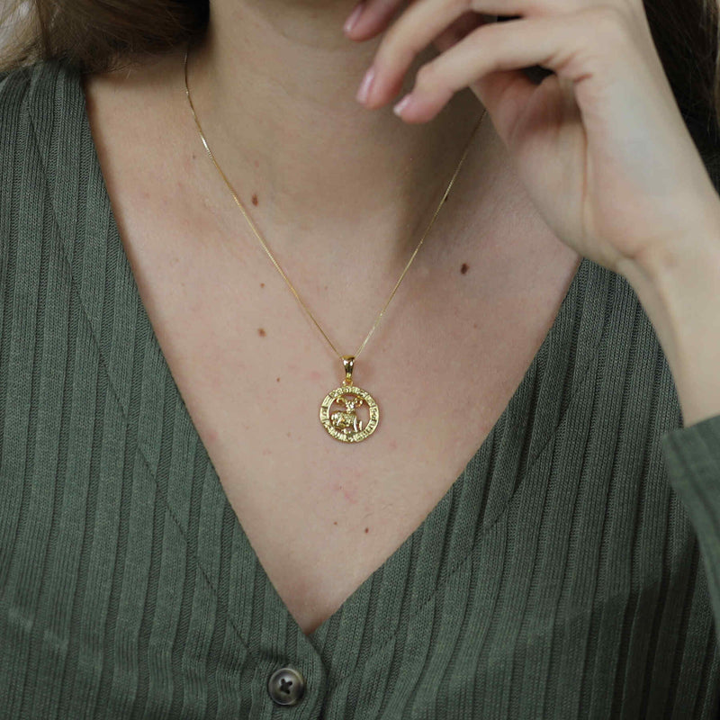 Model Wearing Beautiful Zodiac Aries Solid Gold Pendant By Jewelry Lane