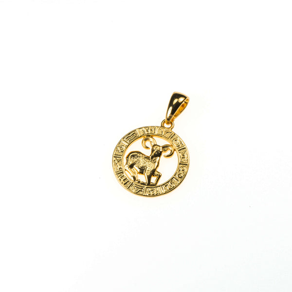 Beautiful Zodiac Aries Solid Gold Pendant By Jewelry Lane