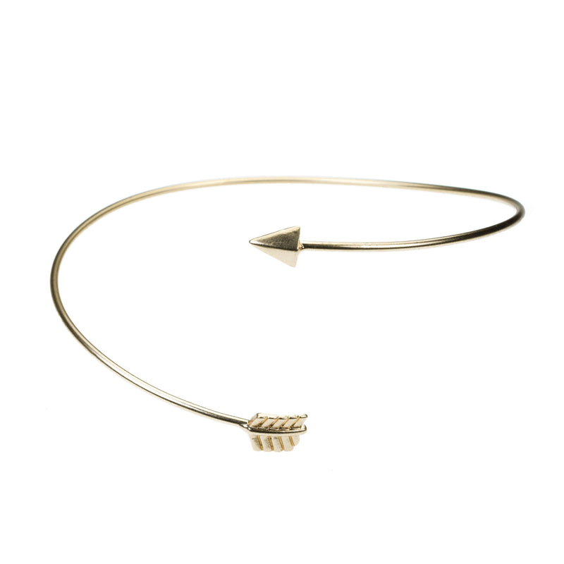 Beautiful Adjustable Arrow Style Solid Gold Armband Bangle By Jewelry Lane