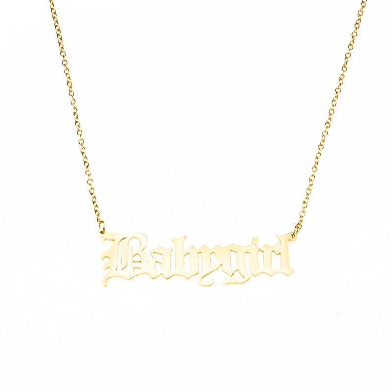 Beautiful Charming Letter Baby Girl Solid Gold Pendant By Jewelry Lane