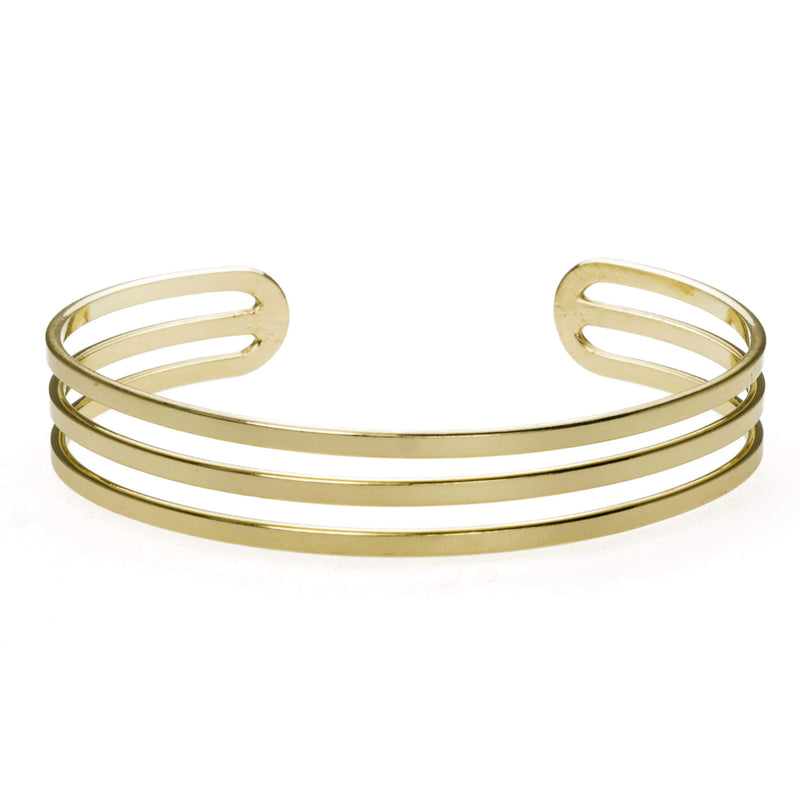 Three Ring Solid Gold Cuff Bangle by Jewelry Lane