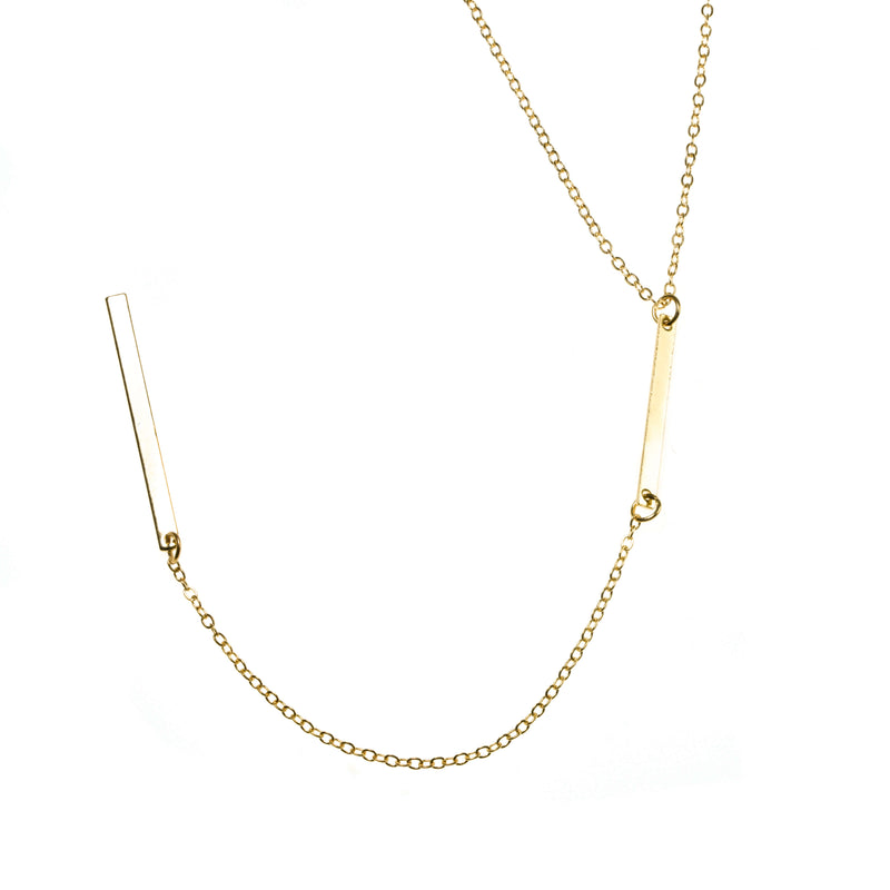 Elegant Long Dangle Drop Bar Solid Gold Necklace By Jewelry Lane