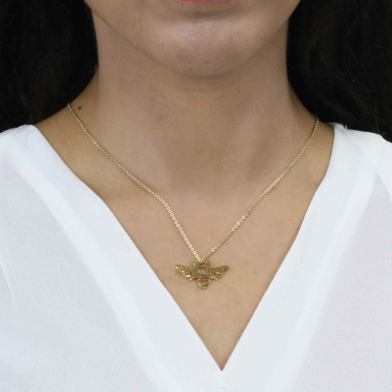 Model Wearing Beautiful Charming Bee Solid Gold Pendant By Jewelry Lane