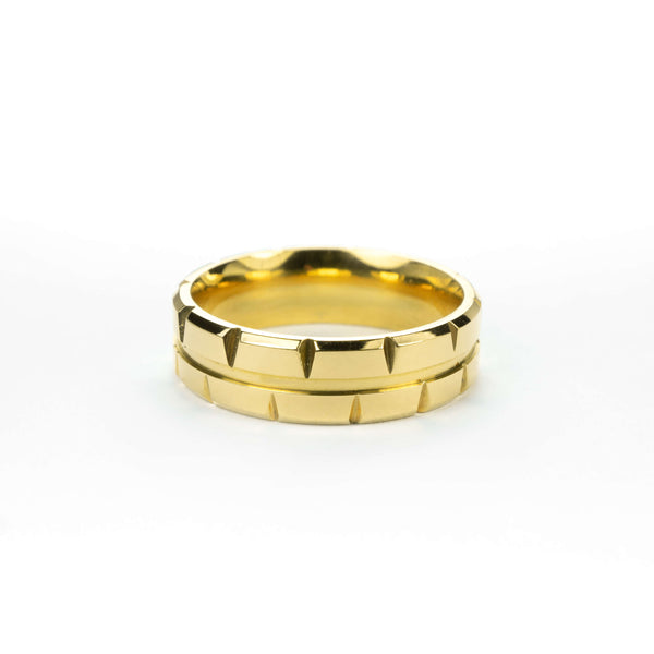 Elegant Single Line Brick Cut Solid Gold Band Ring By Jewelry Lane