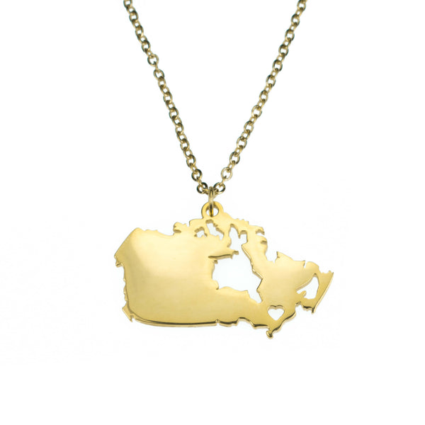 Beautiful Modern Canada Map Design Solid Gold Pendant By Jewelry Lane