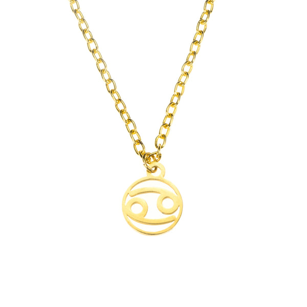 Charming Zodiac Cancer Minimalist Solid Gold Pendant By Jewelry Lane