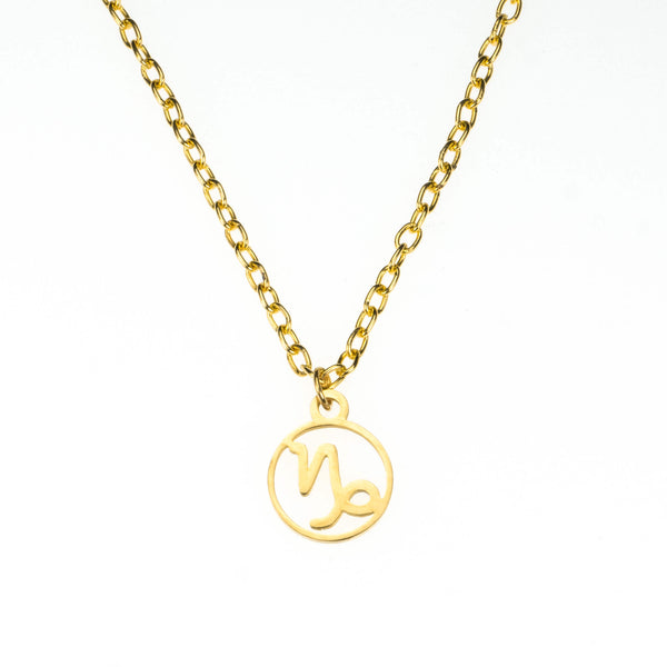 Charming Zodiac Capricorn Minimalist Solid Gold Pendant By Jewelry Lane