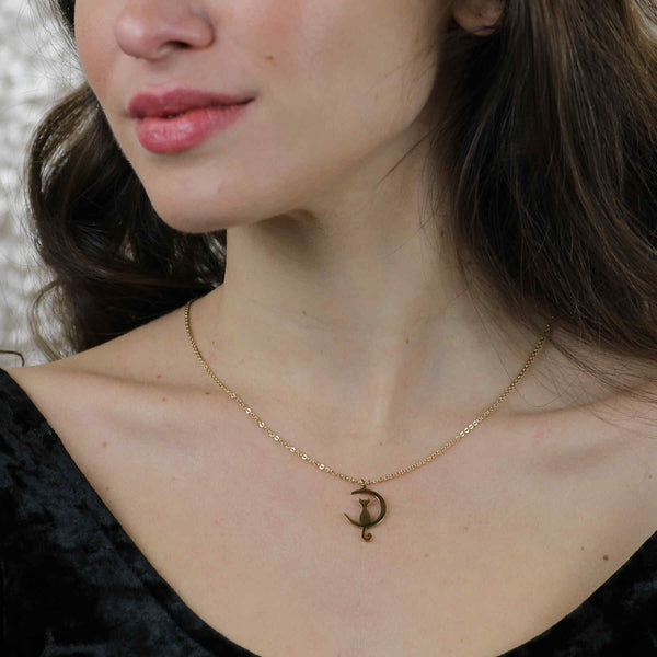 Model Wearing Beautiful Charming Cat Crescent Moon Solid Gold Pendant By Jewelry Lane