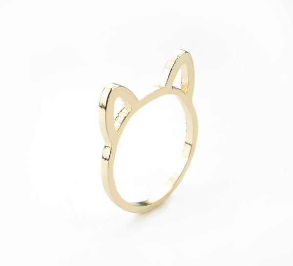 Beautiful Charming Cat Ears Solid Gold Ring By Jewelry Lane