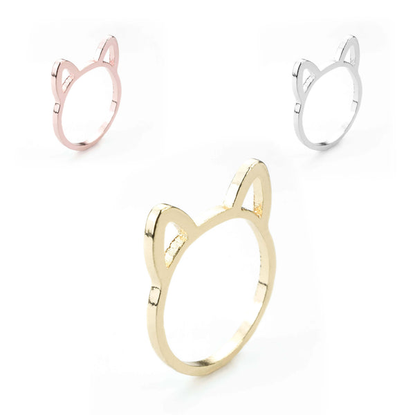 Beautiful Charming Cat Ears Solid Gold Rings By Jewelry Lane