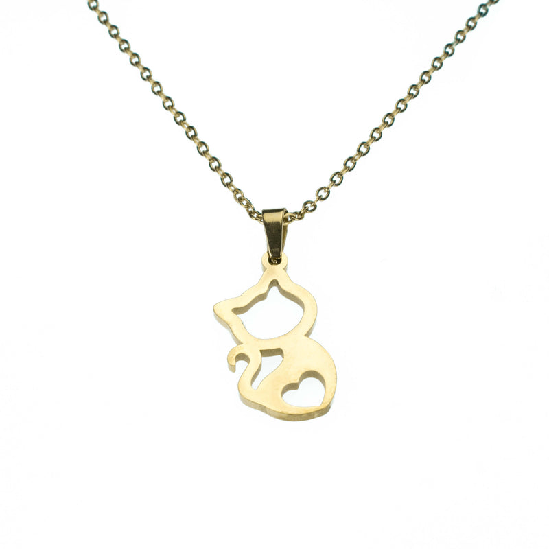 Beautiful Charming Kitty Love Solid Gold Necklace By Jewelry Lane