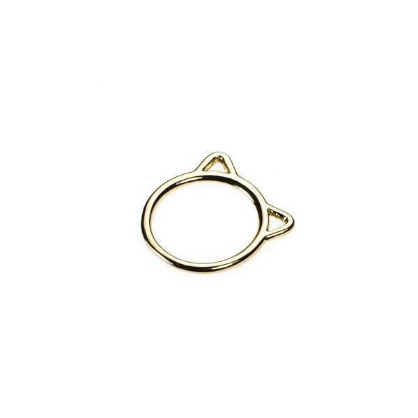 Beautiful Charming Cat Face Solid Gold Stacker Ring By Jewelry Lane