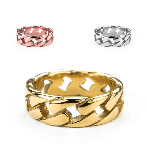Beautiful Stylish Chain Design Solid Gold Band Rings By Jewelry Lane