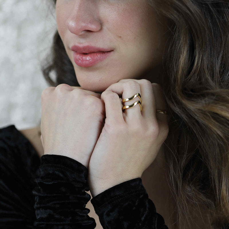 Model wearing the Double Chevron Stacker Ring in Gold Vermeil by Jewelry Lane