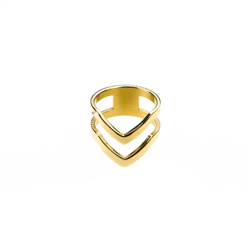Double Chevron Stacker Ring in Gold Vermeil by Jewelry Lane