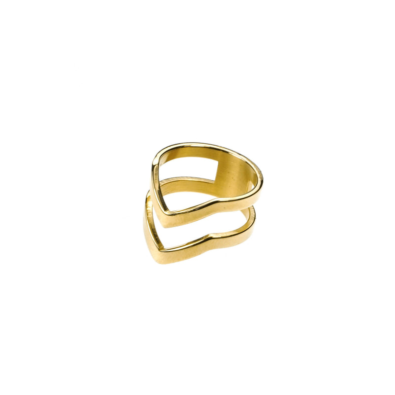 The Double Chevron Stacker Ring in Gold Vermeil by Jewelry Lane