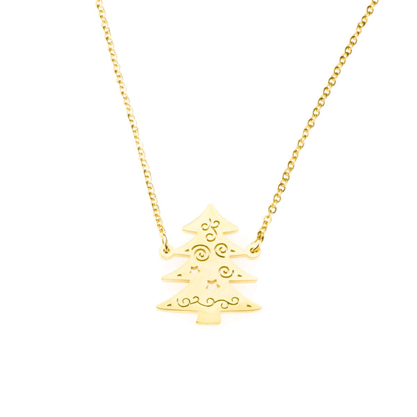 Beautiful Charming Christmas Tree Solid Gold Necklace By Jewelry Lane