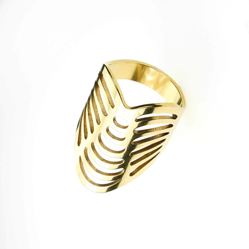 Beautiful Classic Hollow Design Large Solid Gold Ring By Jewelry Lane