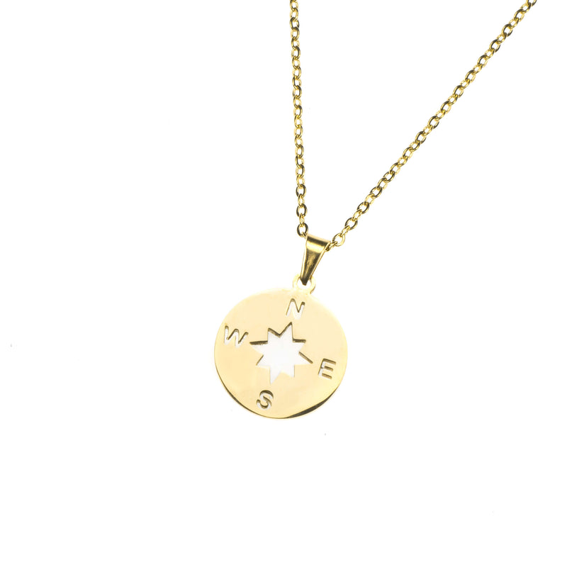 Beautiful Classic Compass Design Solid Gold Pendant By Jewelry Lane