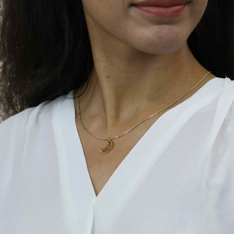 Model Wearing Beautiful Charm Crescent Moon Solid Gold Pendant By Jewelry Lane