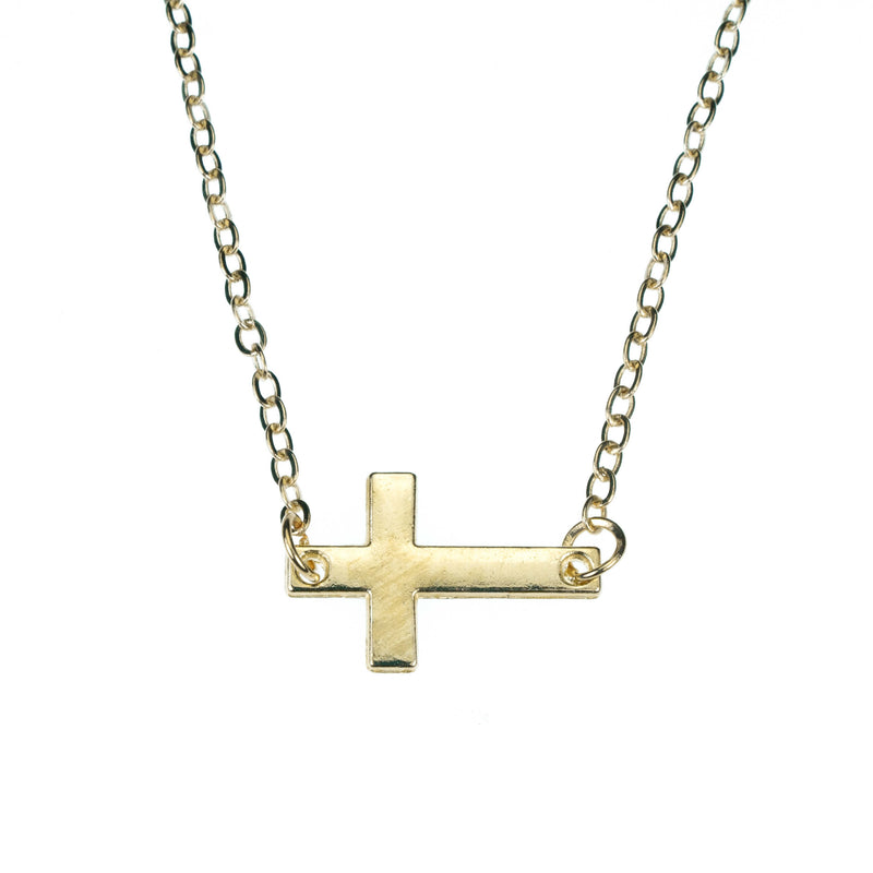 Elegant Simple Sideway Cross Solid Gold Pendant By Jewelry Lane