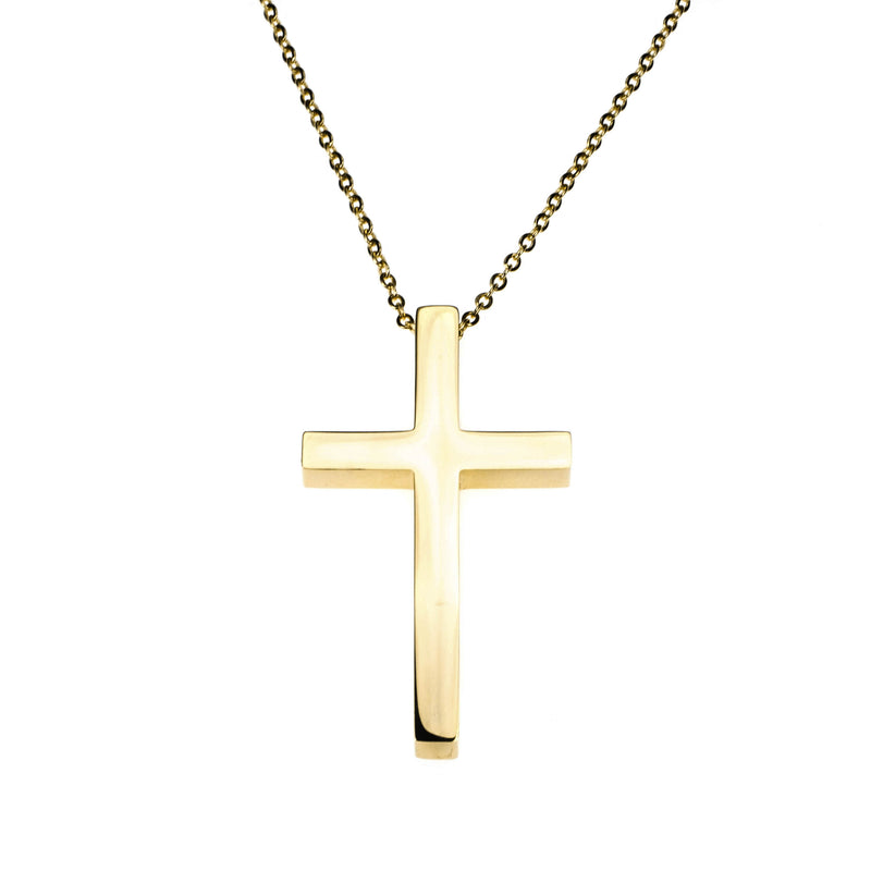 Plain Simple Jesus Cross Solid Gold Pendant By Jewelry Lane